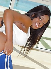 Amazing looking black horny babe rides cok like a pro amazing body