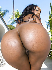 Hot ebony babe with gorgeous ass and big boobs gets her pussy pounded