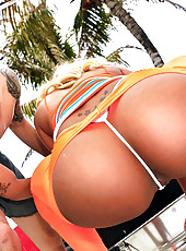 Super hot fucking ebony red head babe nailed hard in these poolside fucking vids and pics