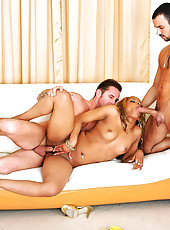 Fine ass blonde black babe gets fucked hard in all her holes in these hot 3some fucking double cumfaced fucking pics