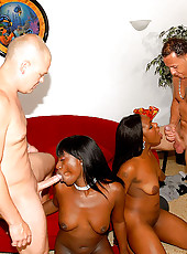 Hot mocca and her beautiful round ass gf get their black boxes fucked hard in this 3some fuckdate