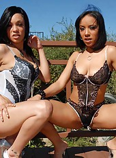 Watch these 2 sexy brown foxes suck and get their hot pussies pounded hard in these 3some pics