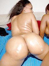 Amazing round ass ebony babes armada get tgheir hot pussys double banged in these super hot pics