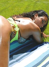 Sexy hot ebony babe gets her first on camera facial here in these hot pics