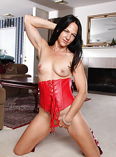 43 year old Kiera blu from AllOver30 strips off her red and black lingerie
