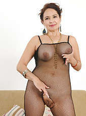 52 year old Sam from AllOver30 wearing a fishnet bodystocking in here