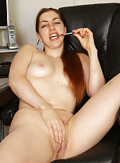33 year old Silva Storey plays with her mature shaved pussy in here