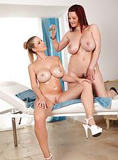 Busty Lesbians Give An Oil Rubdown
