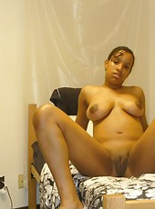 Compilation of a busty black honey spreading on the bed