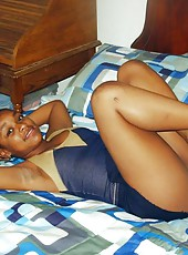 Collection of an amateur ebony chick in slutty poses