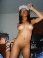 Compilation of a naughty black teen posing naked