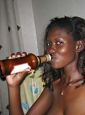 Photo selection of an amateur naked kinky black chick