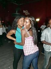 Ebony club girls having fun in the club
