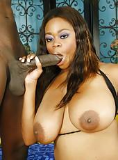 Busty ebony MILF on her knees sucking a big black dick