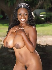Watch this black babes tits fly as she gets double stuffed
