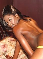 Dark skinned slut getting slammed from behind