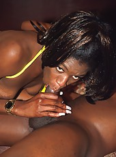 Dark skinned slut getting slammed from behind