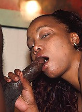 Cum guzzling black babe with a pierced clit gets fucked