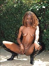 Three horny black babes put dildos to good use