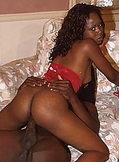Sweet black babes sucking and banging