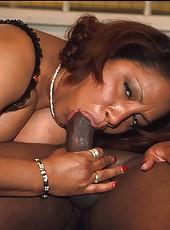 Big black mama sucks and fucks