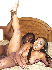 Ebony stunner gets her slit slammed over and over