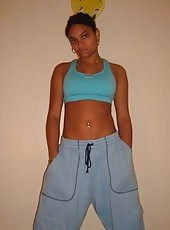 Ebony GF posing slutty in her room