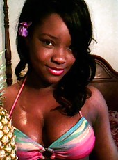 Hot ebony webcam babe wearing different sexy costumes