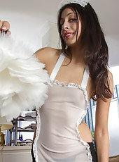 Luna Monroe decides to surprise her lover. She enjoys dressing up in her French maid costume. When she arrives at her lover