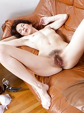 Milady walks in and sits next to her boyfriend, hoping to get a little neck rub. Instead she gets a nice hard lay, as he can not keep his hands out of her pants or off of her sweet hairy pussy.