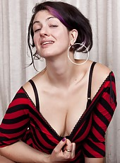 Sexy Sadie Lune looks hot in this red and black dress. She looks even hotter when she strips it off to show you her hairy body, from her hairy pits to her hairy pussy and everywhere in between!