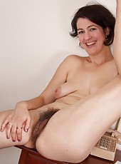 Pretty in Purple, Sadie Lune strips out of her velvety smooth dress to get a better feel of her own smooth, hairy body. She loves to caress her hairy pits, legs and especially her hairy pussy!