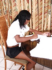 Amateur ebony hotties all over envy Renee with her gorgeous good looks. As this black haired ebony teen gets herself off after studying so hard, she loves fingering her tight hairy pussy.