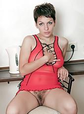 Karina looks sexy in her sheer red dress. She