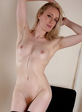 Blonde bombshell Cate sure is sexy with her moist ginger bush. Every move she makes will make you shiver.