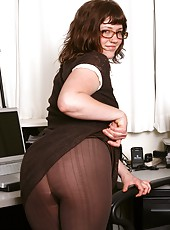 Lovely Odette is a pleasure to have in the office. Her cute and innocent looks will blow you mind when she undresses her big furry beaver!