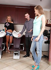 Hardcore Threesome In Hair Salon