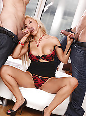 Blondie gets a double stuffing