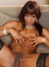 Ebony babe in hot interracial sex