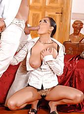 Busty brunette Jasmine in anal romp