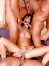 Hot redhead Karla gets gang banged