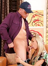 Blonde Babe Sucking On Cock In 69
