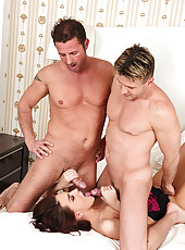 Demetris sucks two cocks in batroom