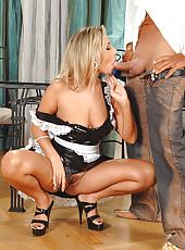 Sexy babe sucks in her maid uniform
