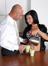 Cutie needs cock with her coffee