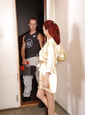 Redhead babe Kristine sucking cock