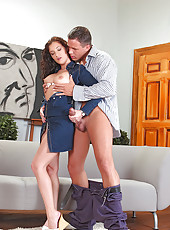 Horny Judith Fox sucking big cock
