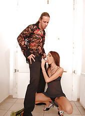 Hot redhead babe sucks a big cock