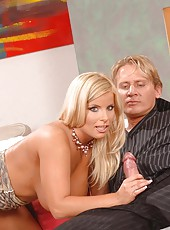 Busty blond babe gives a blowjob