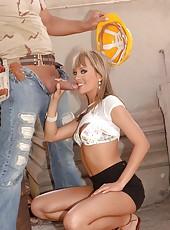 Hot babe Angel sucks on a big cock